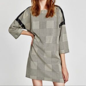 Zara Houndstooth Faux Leather Trim Shift Dress